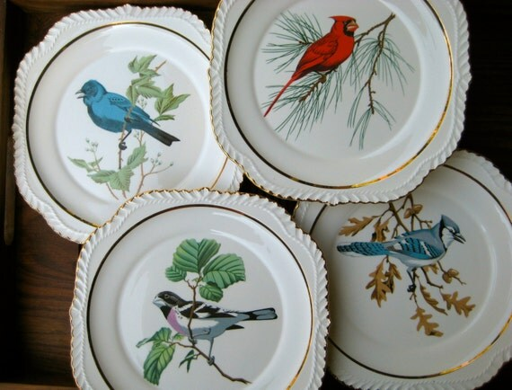Reserved For Laura Keefe Dessert Plates Bird Plates Set