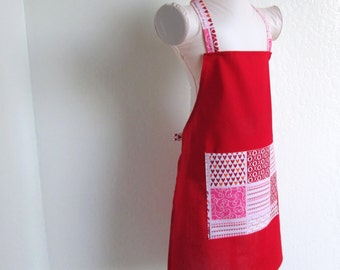 Childrens Apron - SUMMER SALE- Radiant Red Kids Apron with Love, Hearts, and Kisses, fun to cook and create arts and crafts in