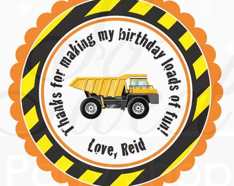 Construction Birthday Stickers - Party Favor Stickers - Construction Birthday Decorations - Dump Truck Party - Set of 24
