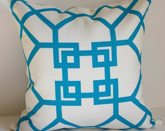 Kravet Pillow Cover /  Windsor Smith / Xu Garden / Akuatik / Turquoise & Off White / Pattern on Both Sides / Select Your Size
