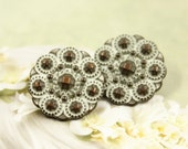 Metal Buttons - Beads Flower Metal Buttons , Copper Patina Color , Shank , 0.71 inch , 10 pcs