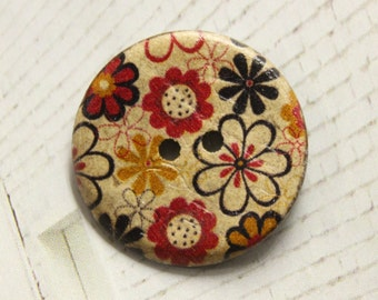 Coconut Buttons - Various Flower Picture Coconut Buttons, 1 inch (6 in a set)