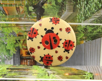 Wooden Buttons With Cute Polka Ladybugs Picture  1.18 inch. 6 in a set