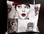 Modern Parisian Pillow Cover Red and Black Decorative Cushion Cover 16 x 16 Throw Pillow French Chanel Pillow