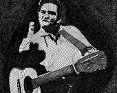 Johnny Cash - Limited Edition Original Signed Print Drawing no. 6/80 - Johnny Cash Portrait Art