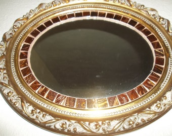 Mirror Vintage Mosaic  Bronze & Copper Oval Mirror. Great Wall decor. Home decor. Bathroom mirror. Repurposed. Free Shipping in US Only.