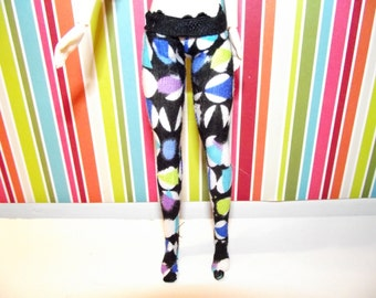 Black with multi colored circles tights leggins for DAL doll