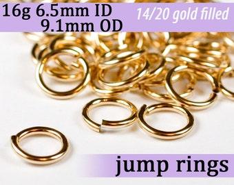 16g 6.5mm ID 9.1mm OD 14k gold filled jump rings -- goldfill jumprings 16g6.50 links