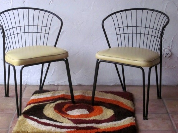 Pair Daystrom Mid Century Modern Chairs Wire Metal Barrel