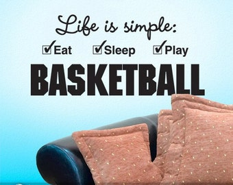 College Student Gift, Basketball Wall Decor for Dorm Room, Basketball Quote Wall Decal, Sport Decor Gift, Play Basketball (001612b7v)