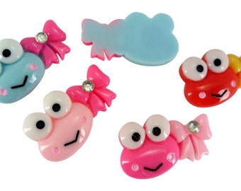Resin Keroppi Frog Rhinestone Bow Flatback Scrapbooking Clips 10 Pieces