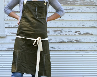 Rustic Utility Full Kitchen Studio Workshop Restaurant Artist Apron for Him or Her in Khaki made to order