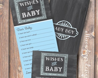 Printable Baby Shower Game - Chalkboard Blue and Gray Wishes for Baby Boy - INSTANT DOWLOAD