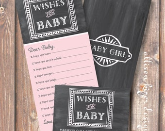 Printable Baby Shower Game - Chalkboard Pink and Gray Wishes for Baby Girl - INSTANT DOWLOAD