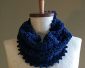 navy blue cowl scarf // crochet neckwarmer // 100 percent cotton