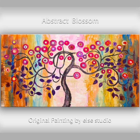 Original Romantic art  Surreal Pink Blossom tree painting,  large brushwork Impasto abstract painting acrylic painting  by Tim Lam 48""