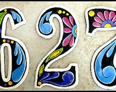 """2 House Numbers - 7 1/2"""" Floral & Black Hand Painted Metal Address from Recycled Steel Drum - Metal Numbers - Decorative Numbers AD-100-7-BK"""