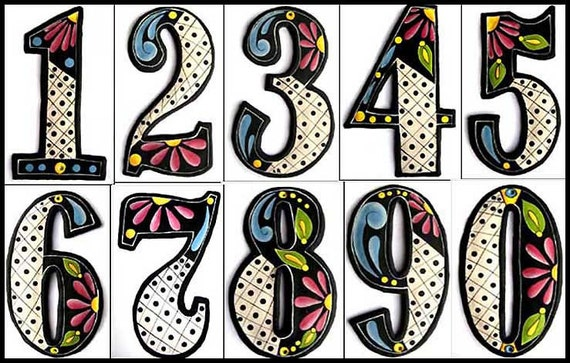 "3 House Numbers - 4 1/2"" Hand Painted Metal Addresses from Recycled Steel Drum - Decorative House Number, Metal Art Address Numbers -200-4BK"