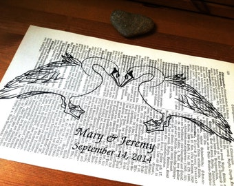 Swans Love Wedding Engagement Anniversary Valentine Gift Personalized Art Print on Antique 1896 Dictionary Book Page