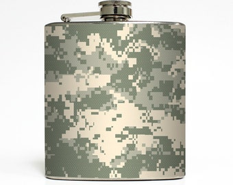 Military ACU Camo Whiskey Flask Army Combat Uniform Camouflage Guys Groomsmen Gift Stainless Steel 6 oz Liquor Hip Flask LC-1224