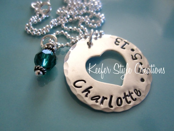 Hand Stamped Heart cut out necklace
