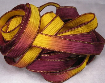 Hand Dyed Silk Ribbon - Crinkle Silk Ribbons - Silk Jewlery Ribbon Bracelet wrisp wrap - Quintessence - Maroon and Gold