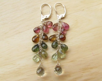 SALE!!! Sterling Silver Earrings with Multicolor Tourmaline and green Amethyst, Cluster Earrings