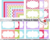 Clementine Frames & Labels: Clip Art Pack Card Making Digital Frames Page Borders Chevron Dots Stripes