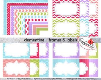 Clementine Frames & Labels: Clip Art Pack Card Making Digital Frames Page Borders Chevron Dots Stripes