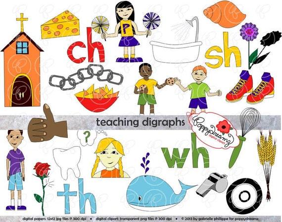 teaching digraphs clipart set 300 dpi school teacher clip