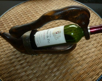 French Country Folk Art Wine Bottle Holder, Wooden Form of Antique French Folk Shoe