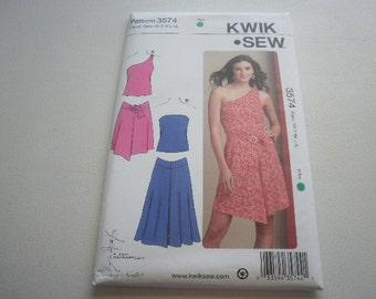 Pattern Ladies Knit  Skirt and Tops 2 Styles Sz XS to XL OOP  Kwik Sew 3574