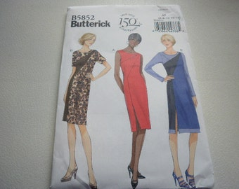 Pattern Ladies Dress 3 Styles Sizes 6 to 14 Butterick 5852