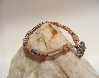 Spanish Knot (Snake Weave) Natural Leather Cord Bracelet with Silvertone Beads and Silver Button