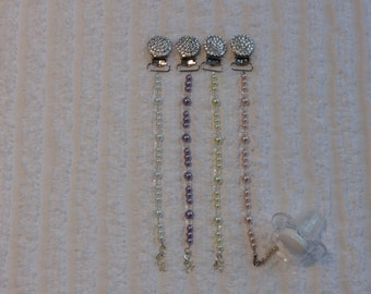 Swarovski Crystal Sparkle and Pearl Beaded Pacifier Clip