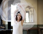 Juliet Cap wedding veil in white tulle with beaded lace trim. 1920s veil, Great Gatsby Veil, Agnes Hart Veil