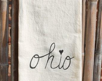 Flour Sack Tea Towel, Dish Towel, Hostess Gift screenprinted with Ohio