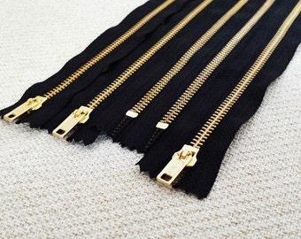 11inch - Black Metal Zipper - Gold Teeth - 5pcs