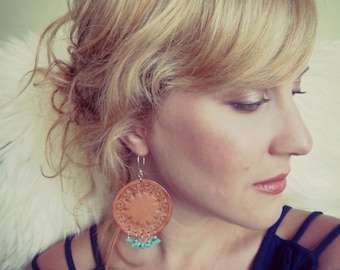 Hand Tooled Leather Earrings With Turquoise Stones