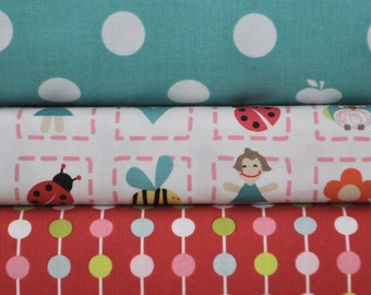 Alphabet Soup Girl 3 Half-Yards Bundle by Zoe Pearn for Riley Blake, 1 1/2 yards total