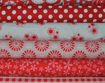 Twice as Nice Red 6 Fat Quarters Bundle by The Quilted Fish for Riley Blake, 1 1/2 yards total
