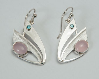 Pink quartz and blue topaz sterling silver earrings