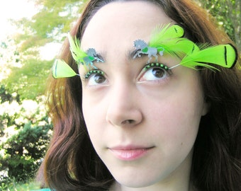 Neon Unicorn Eyelash Jewelry - feather false eyelashes with metallic unicorns