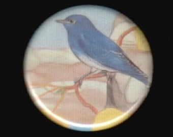 "1.25"" Blue bird button - pinback button or magnet"