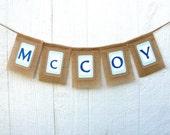 Burlap CUSTOM NAME Banner, Baby Shower Decoration, Nursery Decor, Custom Colors and Theme