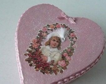 Vintage Style Victorian Valentine Heart Shape Trinket Box or Jewelry Box