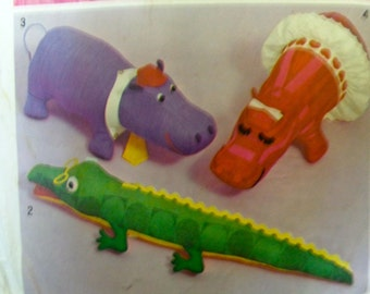 70s Stuffed Animal Sewing Pattern Dolphin Alligator Hippo Simplicity 5778 UNCUT