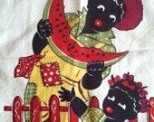 20% off coupon... Black Americana Boy  & Child Watermelon Kitchen Towel 40's 50's