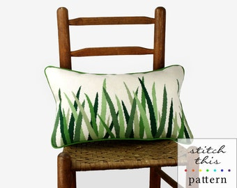 green grasses needlepoint pattern - diy - modern - contemporary - pdf - instant download