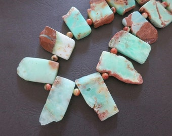 As Pictured- Mint Green Chrysoprase Slabs beads 22-41mm--Top Drilled-- 15pcs- set 13